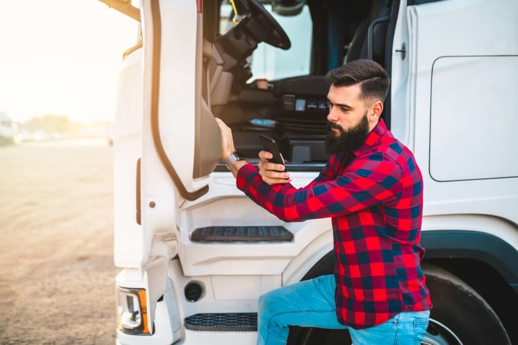 Trucker Using His Phone