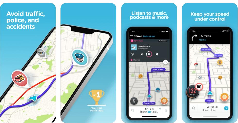 Screenshot of Waze app for iPhone